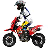 JAXPETY Kids Motorized Motorcycle, 6V Battery Powered , Electric Ride-on Mini Motorbike for Children 3-6 with Training…