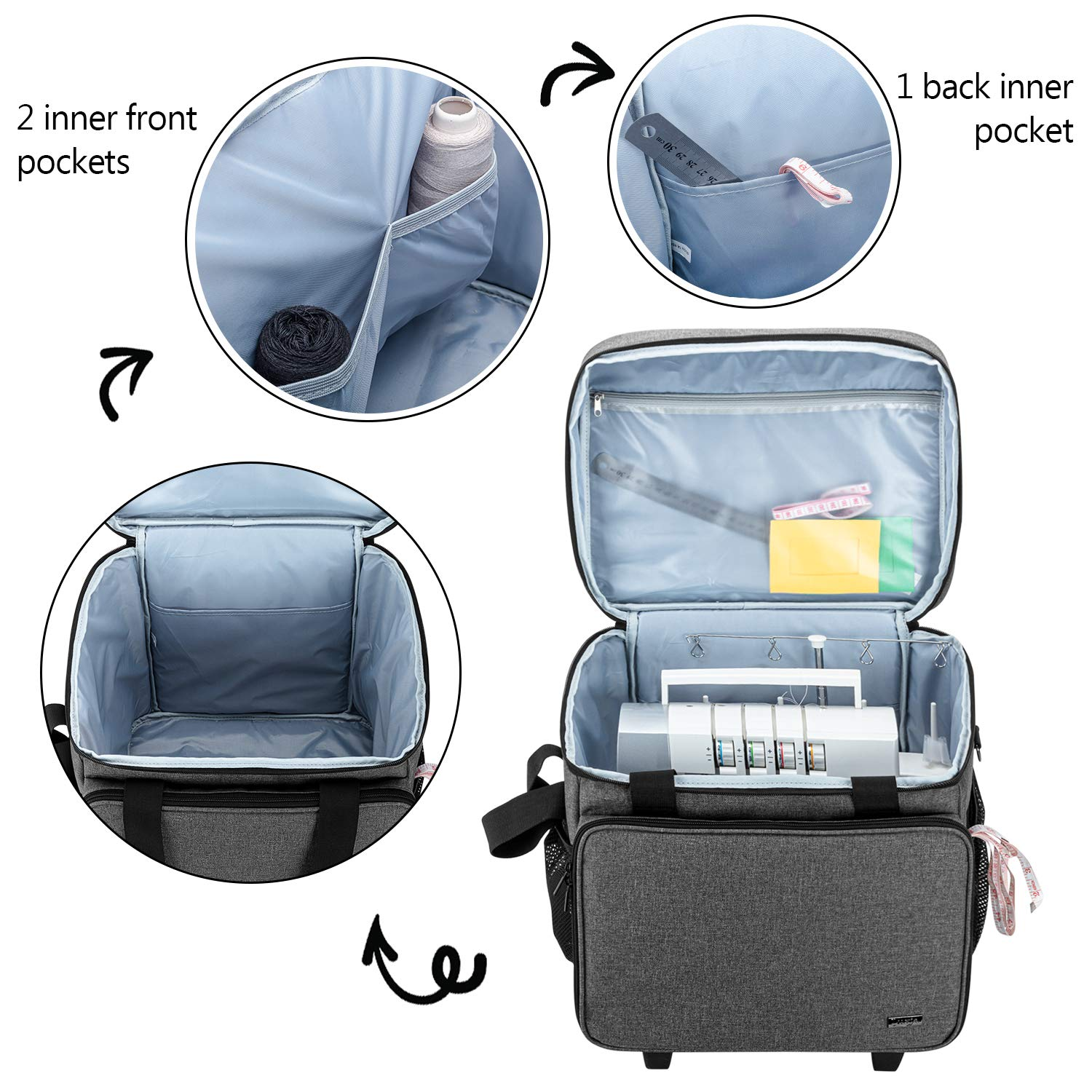Gray Dots Luxja Overlock Sewing Machine Case with Detachable Trolley Dolly Fit for Most Standard Serger Sewing Machines Serger Case with Accessories Storage Pockets