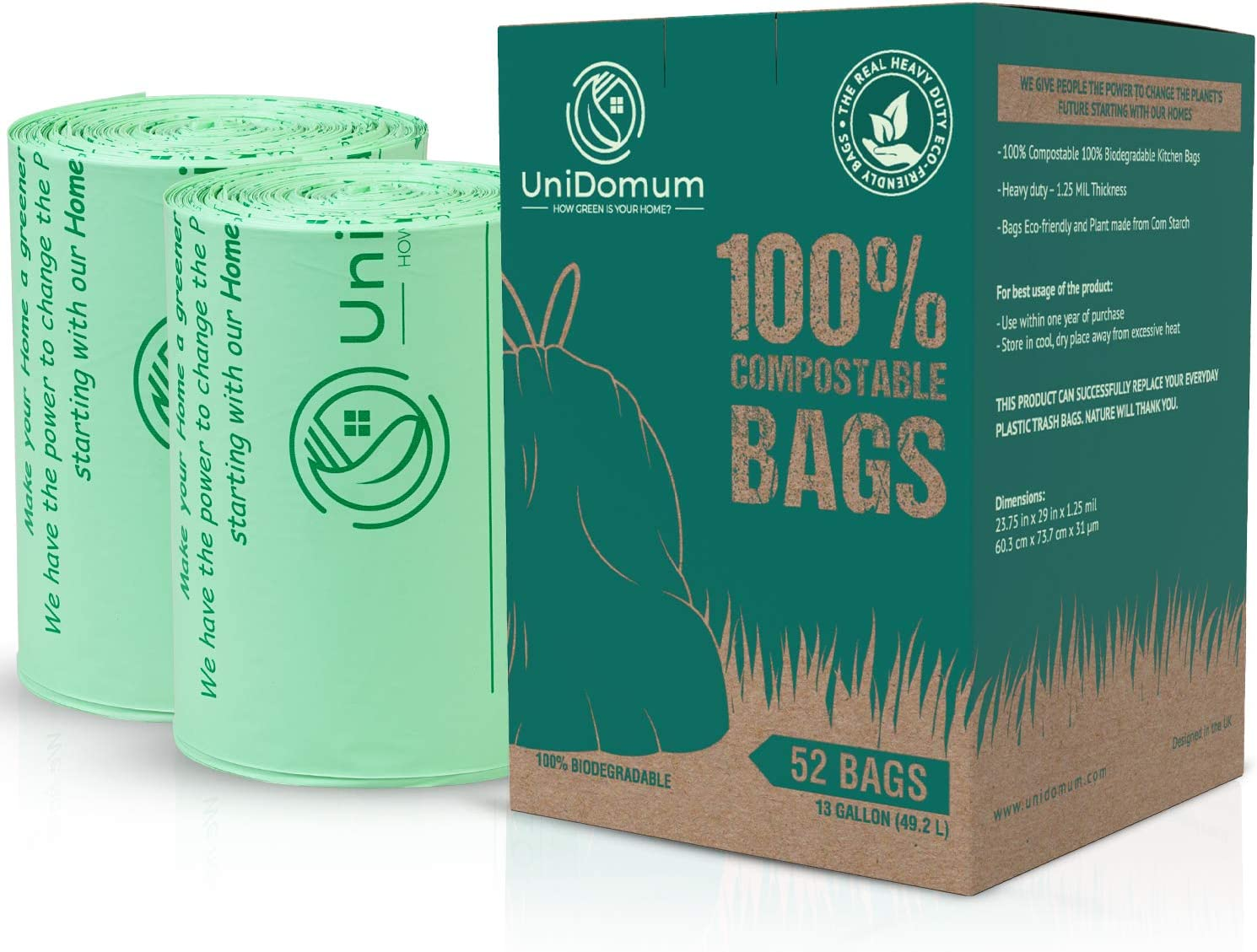 Heavy-Duty 100% Compostable & Biodegradable Trash Bags [1.25MIL] by UniDomum, ASTM D6400, 13 Gallon/49.2L | Eco-Friendly Kitchen/Food Waste Bags That are BPI & OK Compost Home Certified, 52 Count