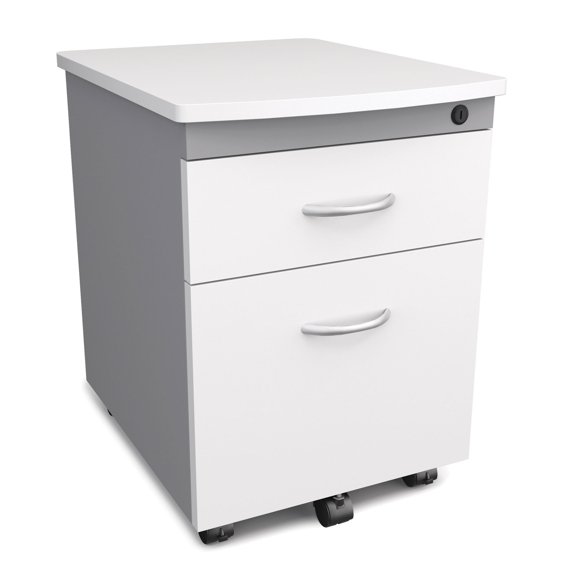 Mobile Pedestal 2-Drawer File/Box Cabinet, White by OFM (Image #1)