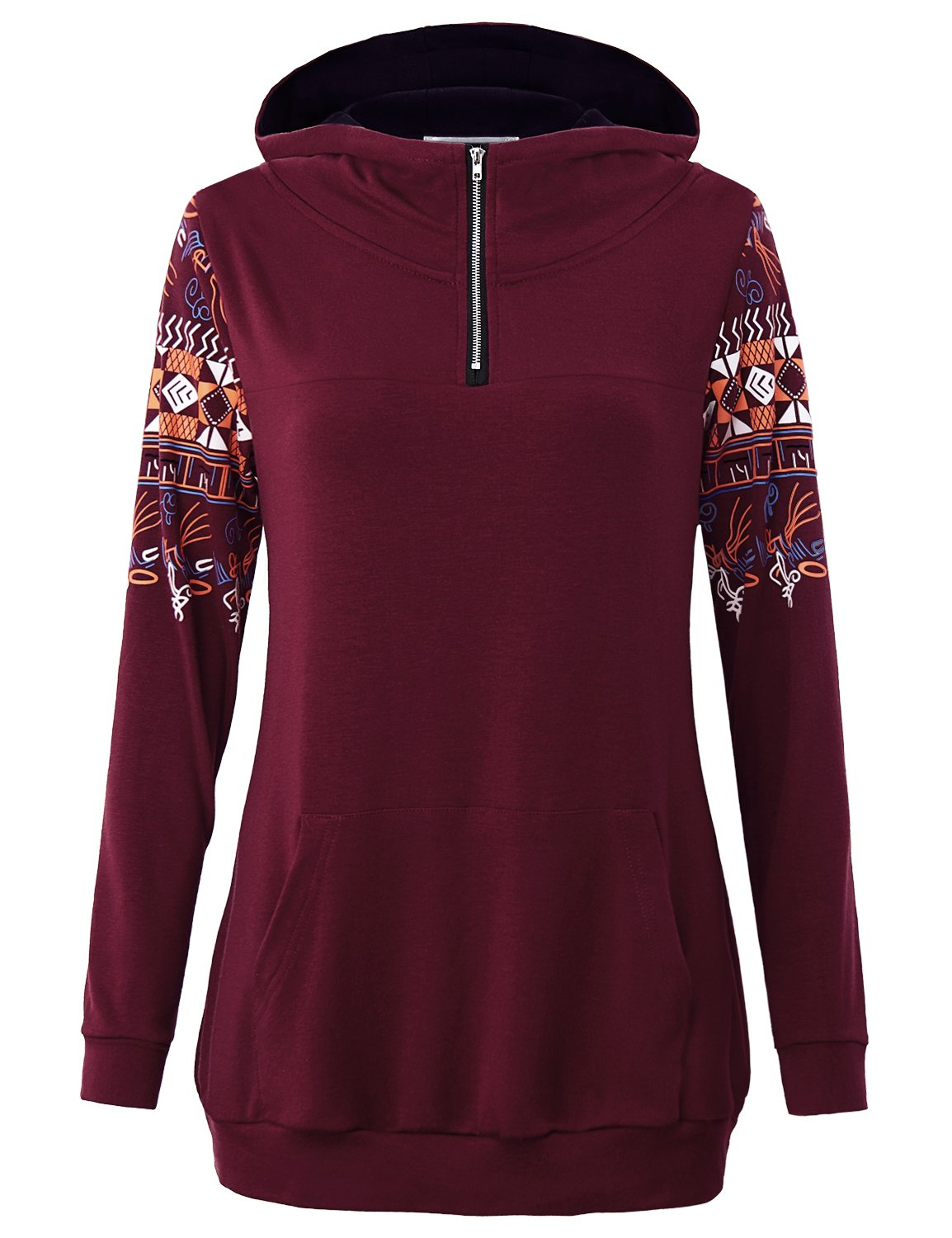 MOQIVGI Hoodies Teen Girls, Ladies Long Sleeve High Neck Tops Zipper Athleisure Wear Daily Flattering Vintage Knit Supreme Sweater 1/4 Zip Sporty Design Solid Color Hoodie Wine XX-Large
