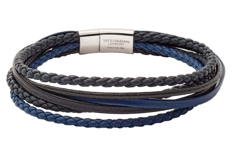 Tateossian Cobra Italian Leather Multi Strand Bracelet - Navy, Medium 18cm