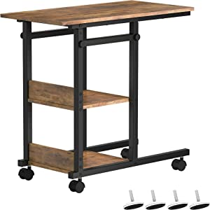 YITAHOME Height Adjustable Black Side Table End Table Bedside Table, Nightstand for Living Room, Easy Assembly - Rustic Brown