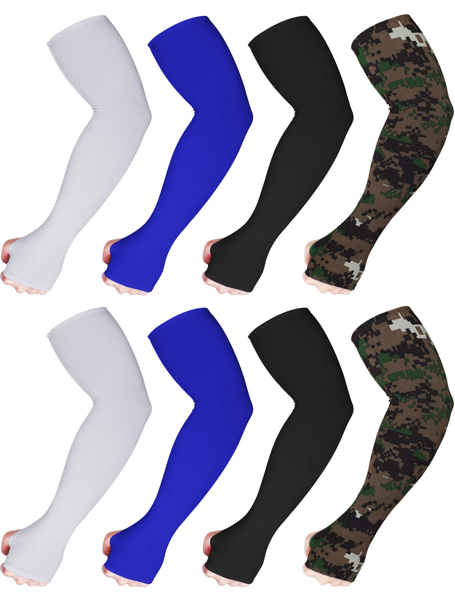 Bememo 8 Pairs Unisex UV Sun Protection Arm Sleeves Ice Silk Arm Cooling Sleeves by Bememo