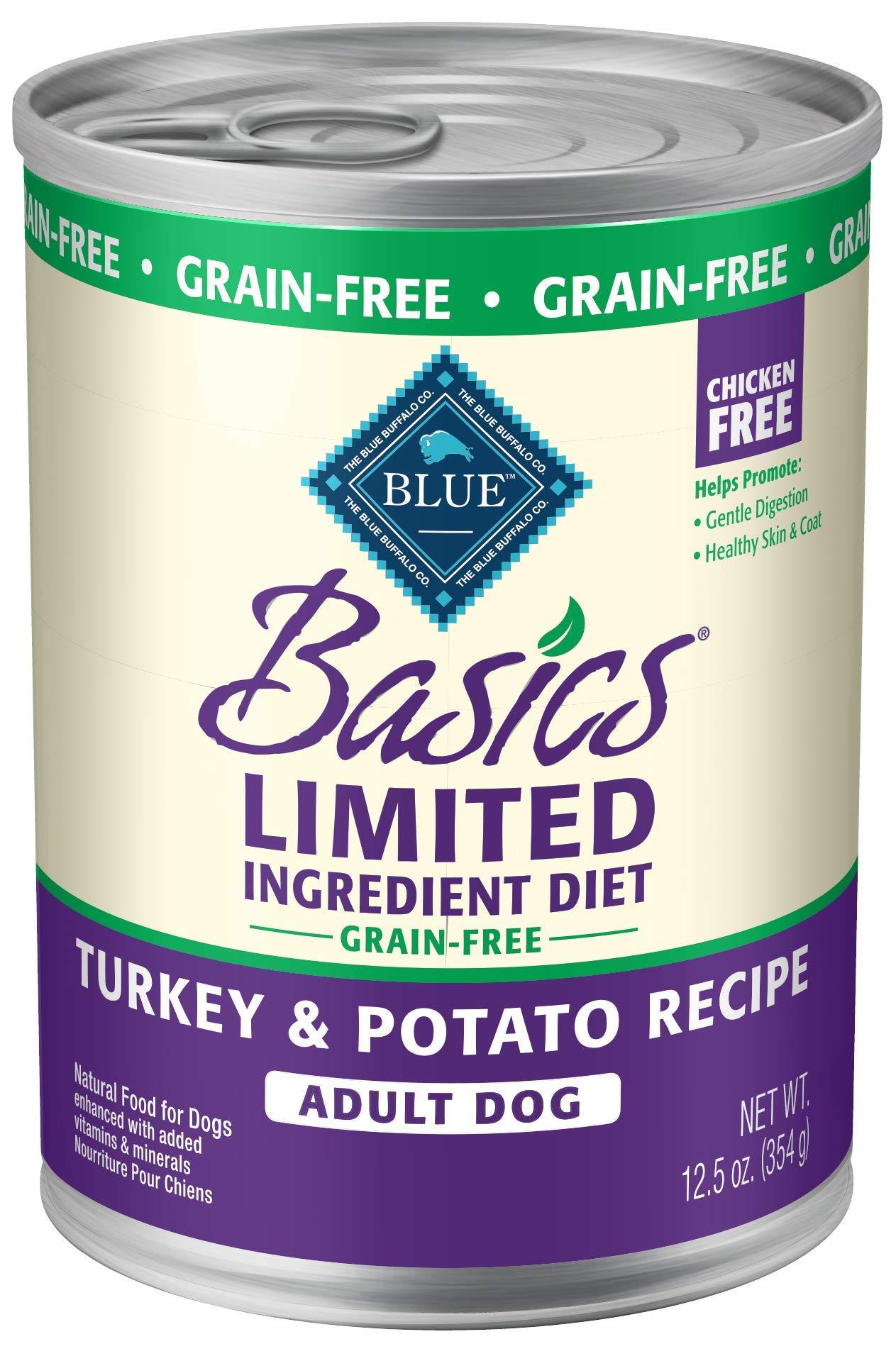BLUE Basics Limited Ingredient Diet Adult Grain-Free Turkey & Potato  Wet Dog Food 12.5-oz (Pack of 12) by Blue Buffalo