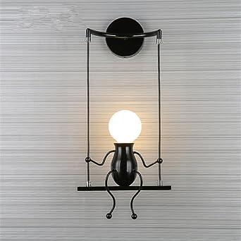 LED Moderna Lámpara de Pared。Pasillo para niños escalera lámpara de pared dormitorio creativo linterna cama cabeza lámpara de mesa creativa sala de estar lámpara de noche, negro solo cabeza: Amazon.es: Iluminación