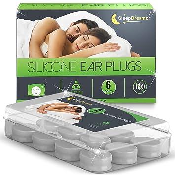 SleepDreamz® Silikon Ohrstöpsel (6 Paar) – Gehörschutzstöpsel mit hoch Dezibel Lärmschutz – Ohrstöpsel Schlafen. Die Schnarch