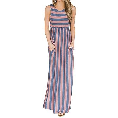 Huiyuzhi Womens Summer Striped Maxi Dress Sleeveless Empire Waist Pocket Long Dresses at Women's Clothing store