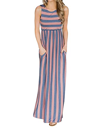abfd458519df Image Unavailable. Image not available for. Color: Huiyuzhi Womens Summer  Striped Maxi Dress Sleeveless Empire Waist Pocket Long Dresses