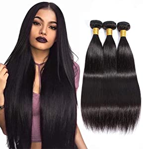 Su Yuan 10A Grade Brazilian Straight Virgin Hair 3 Bundles 100% Unprocessed Straight Human Hair Weave Extensions Nature Black Color (8 10 12inch)