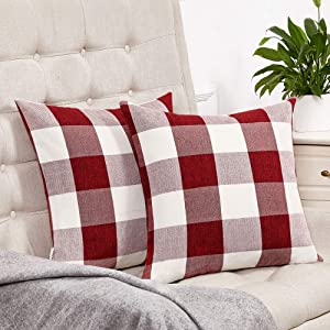 Anickal Set of 2 Red and White Buffalo Check Plaid Throw Pillow Covers Farmhouse Decorative Square Pillow Covers 18x18 Inches for Farmhouse Home Decor