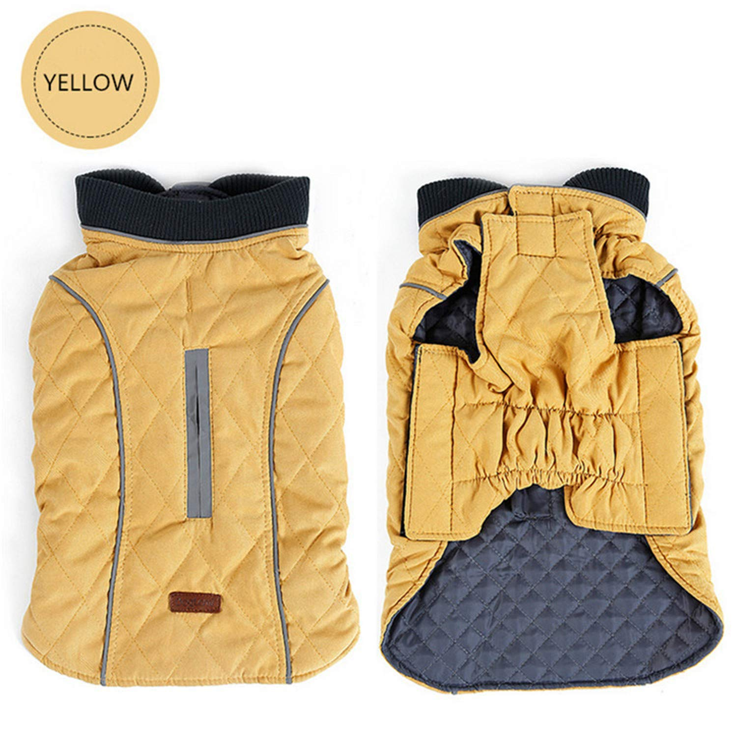Yellow XL yellow XL Dog Clothes Quilted Dog Coat Water Repellent Winter Dog Pet Jacket Vest Retro Cozy Warm Pet