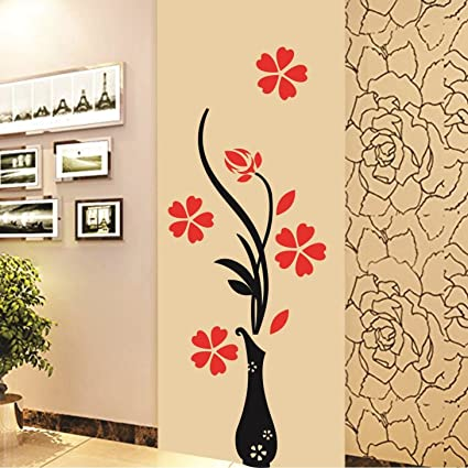 Buy Decals Design \'Flowers with Vase\' Wall Sticker (PVC Vinyl, 60 cm ...