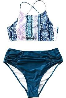 615bd7574a5 CUPSHE Women's Riddle Story Print Bikini Set Tie Back High Waisted Swimwear