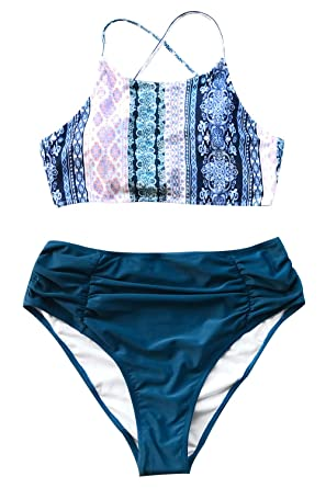 100b0a4a23 CUPSHE Women's Riddle Story Print Bikini Set Tie Back High Waisted Swimwear  (Small (USA