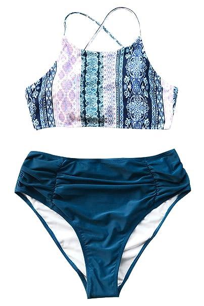 af7ce1ffb8419 CUPSHE Women s Printing High-Waisted Bikini Set Swimwear Bathing ...