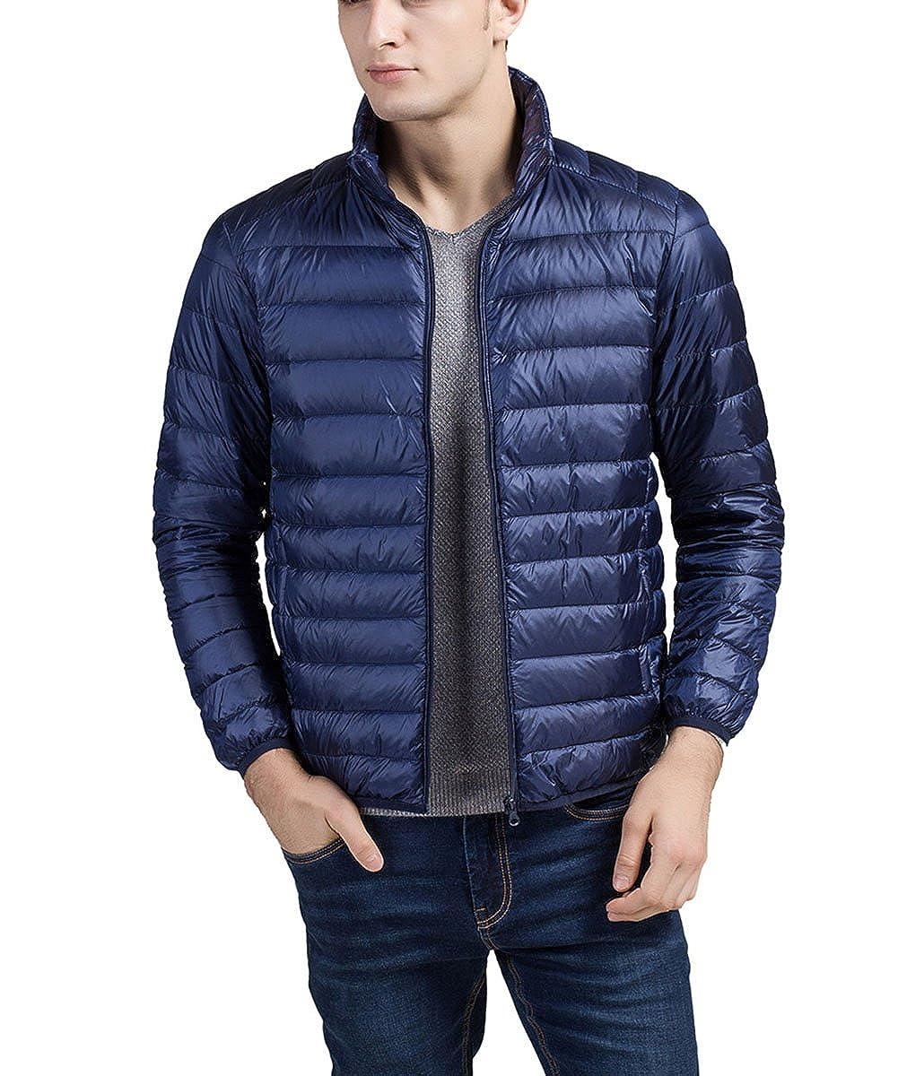 Panegy - Abrigo Acolchado de Pluma para Hombre Ropa Chaqueta Ligero para Invierno Plegable de Plumón - Azul marino - Talla XL ZZFS512800