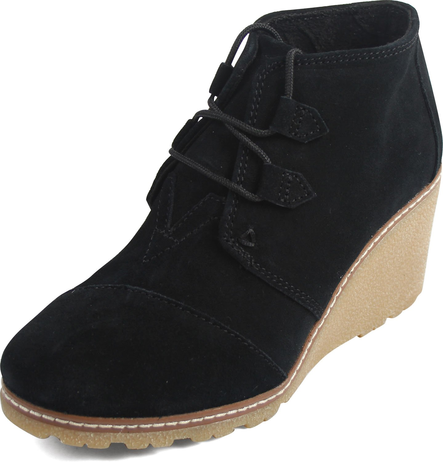 Toms Women's Desert Wedge Crepe Black Suede Shoes 5