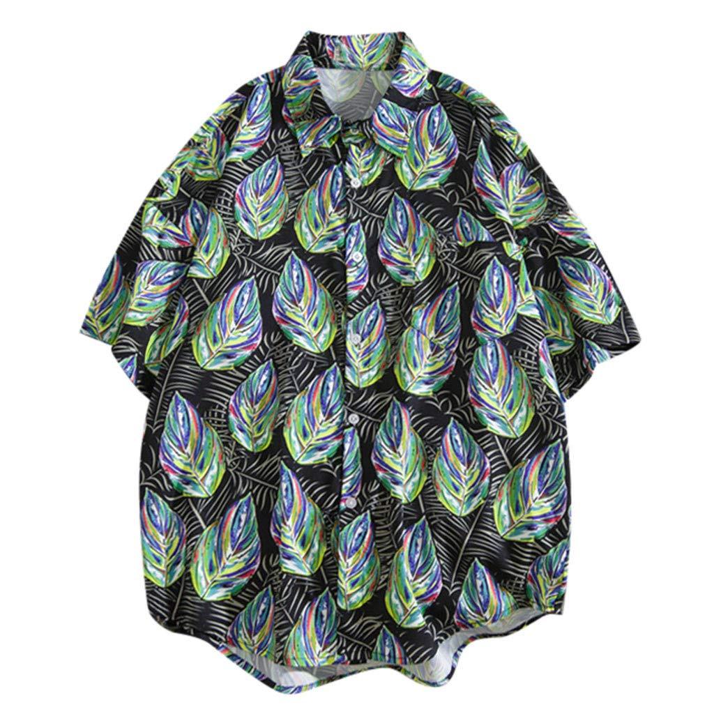Mens Casual Shirt,RNTOP Mens Flower Button Down Short Sleeve Hawaiian Shirt Beach Party Tops