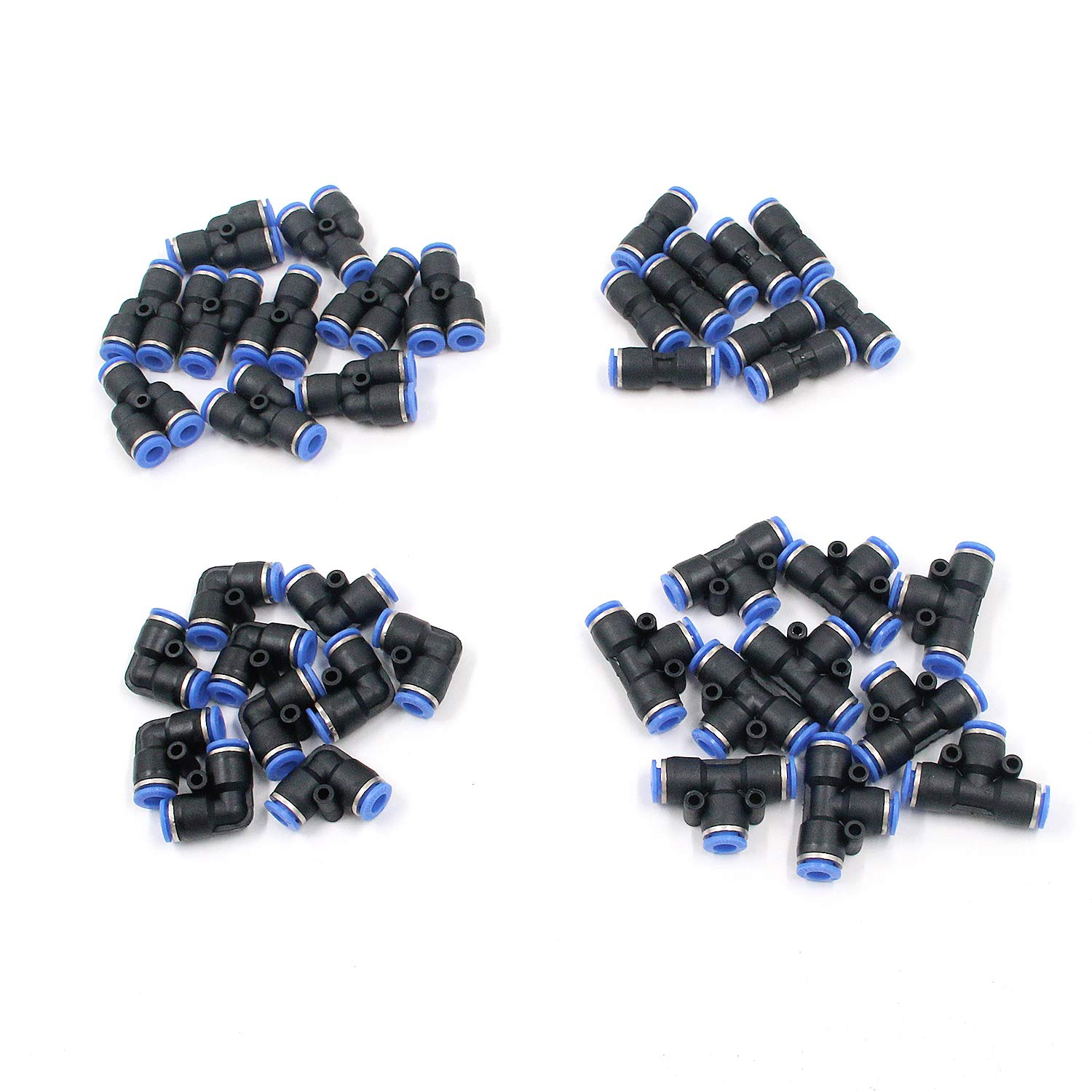 Antrader 40-Pack 1//4 Inch Od Push to Connect Fittings Pneumatic Fittings Combo Kit 10 Spliters+10 Elbows+10 Tee+10 Straight