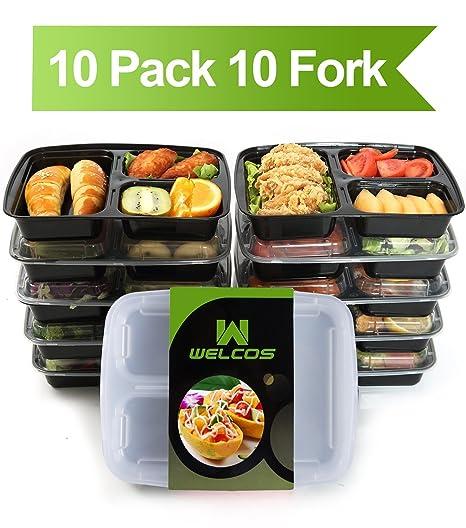 Amazon.com: Contenedores de comida con tapas de 3 ...