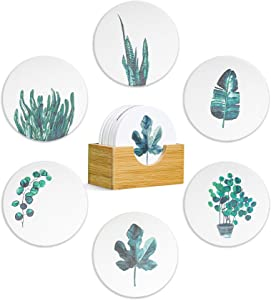 ComSaf Coasters for Drinks, Absorbent Coaster with Holder Set of 6, Tropical Plants Style Ceramic Coaster with Cork Base, Tabletop Protection Coaster Gift for Housewarming Home Decor, 4 Inch