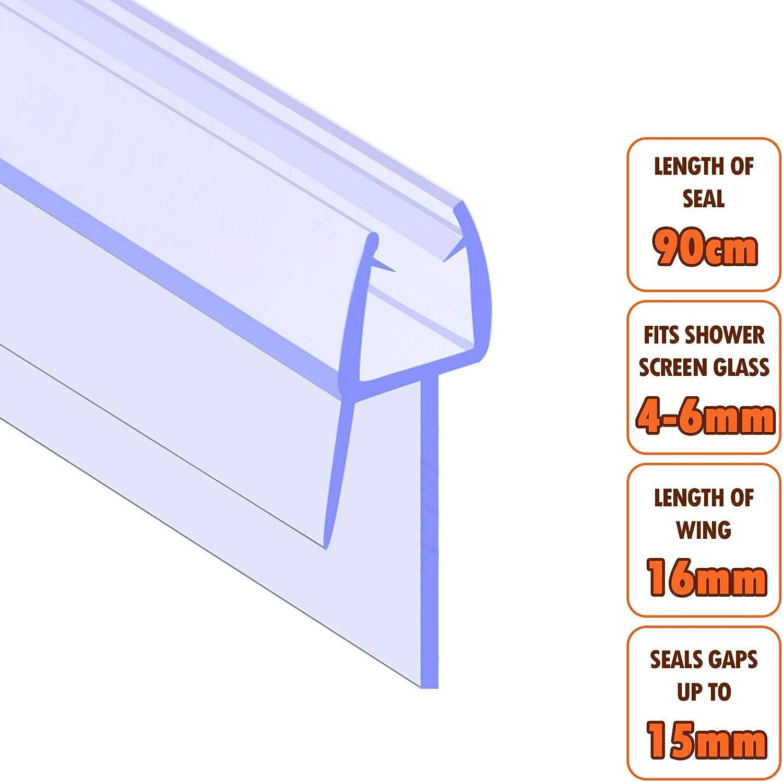 EcoSpaⓇ Junta para mampara de ducha, grosor de cristal de 4- 6 mm, longitud de ala de 16 mm, espacio entre juntas de 14 mm: Amazon.es: Bricolaje y herramientas