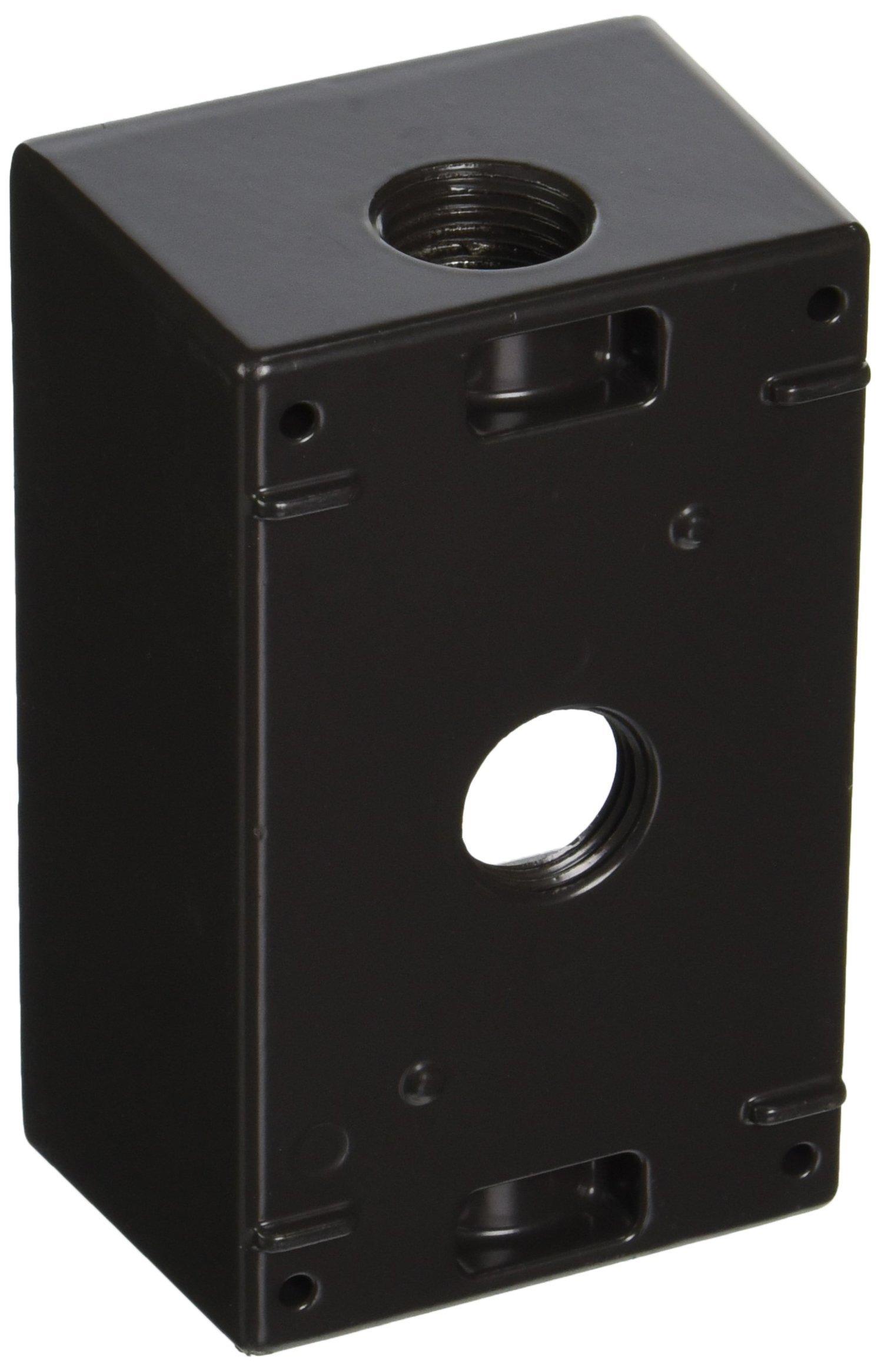 RAB Lighting B3A Weatherproof Single Gang Rectangular Box with 3 Holes, Aluminum, 1/2'' Tap Size, 2-3/4'' Length x 2'' Width x 4-3/4'' Height, Bronze Color
