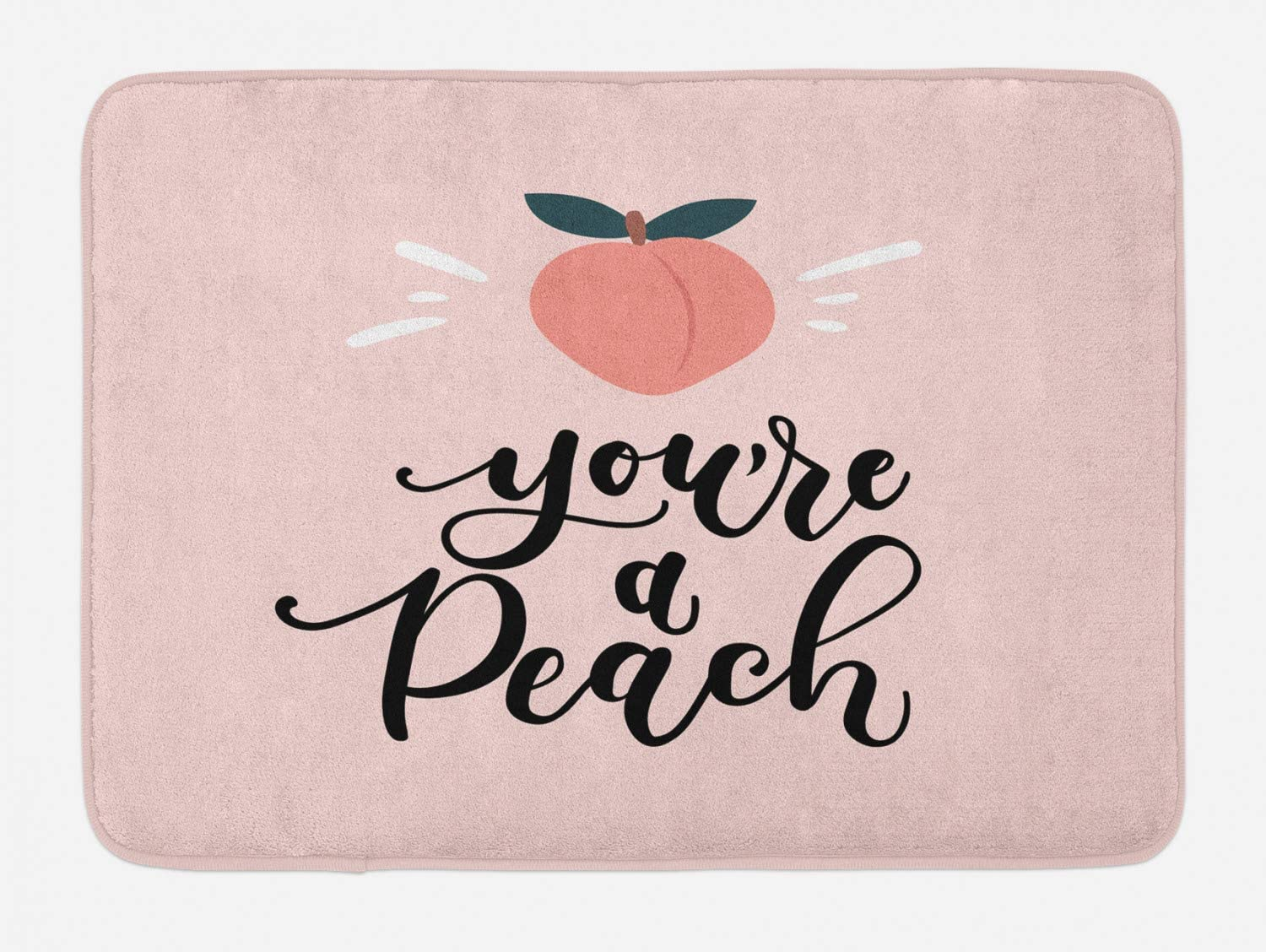 "Ambesonne Fruit Bath Mat, You're a Peach Typography and Leaves Healthy Food in Pastel Tones, Plush Bathroom Decor Mat with Non Slip Backing, 29.5"" X 17.5"", Coral Eggshell"