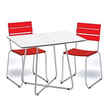 Amazon.de: Weishäupl Balcony Gartenset, rot Gestell edelstahl Tisch ...