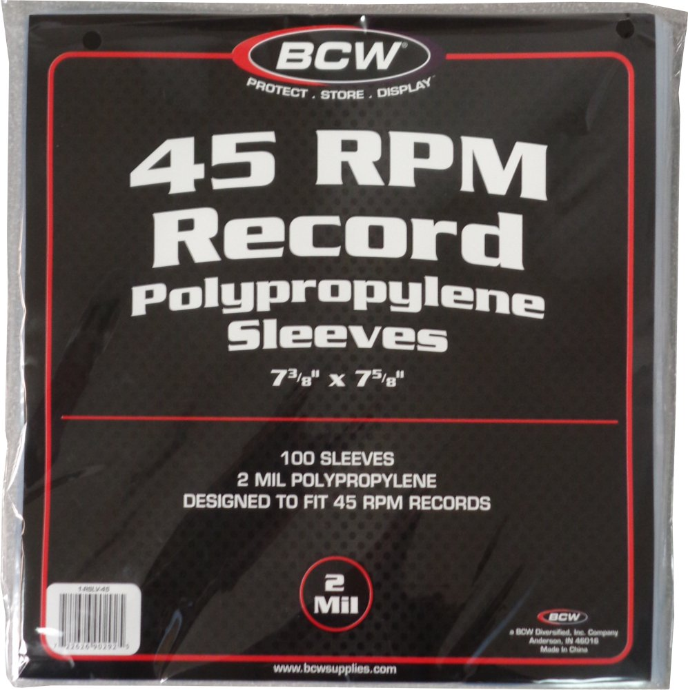 100 Vinyl 45 RPM 7 Record Poly Outer Sleeves 2 Mil NEW BCW 1-RSLV-45