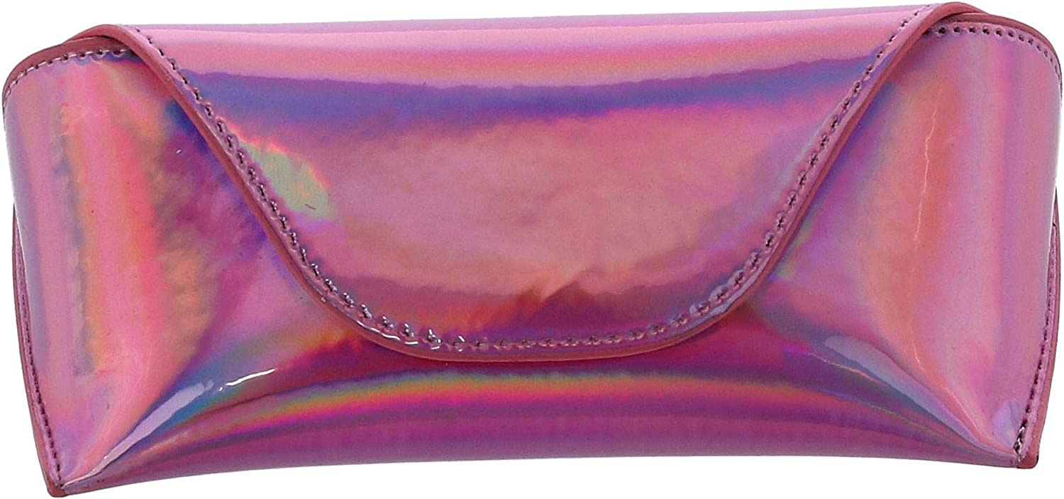 CTM/® Womens Iridescent Glasses Case with Magnetic Closure Pink