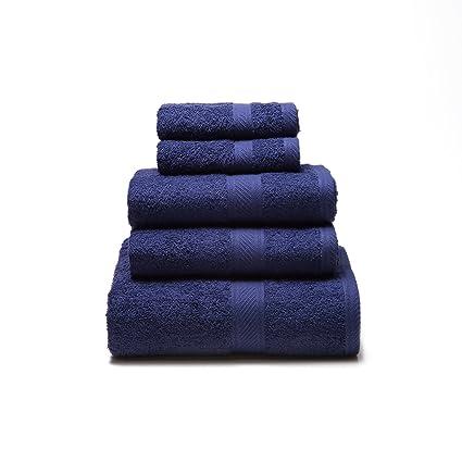 Sancarlos - Juego de 5 toallas YANAI, 100% Algodón, Color Azul marino