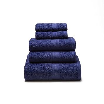 Sancarlos - Juego de 5 toallas YANAI, 100% Algodón, Color Azul marino: Amazon.es: Hogar