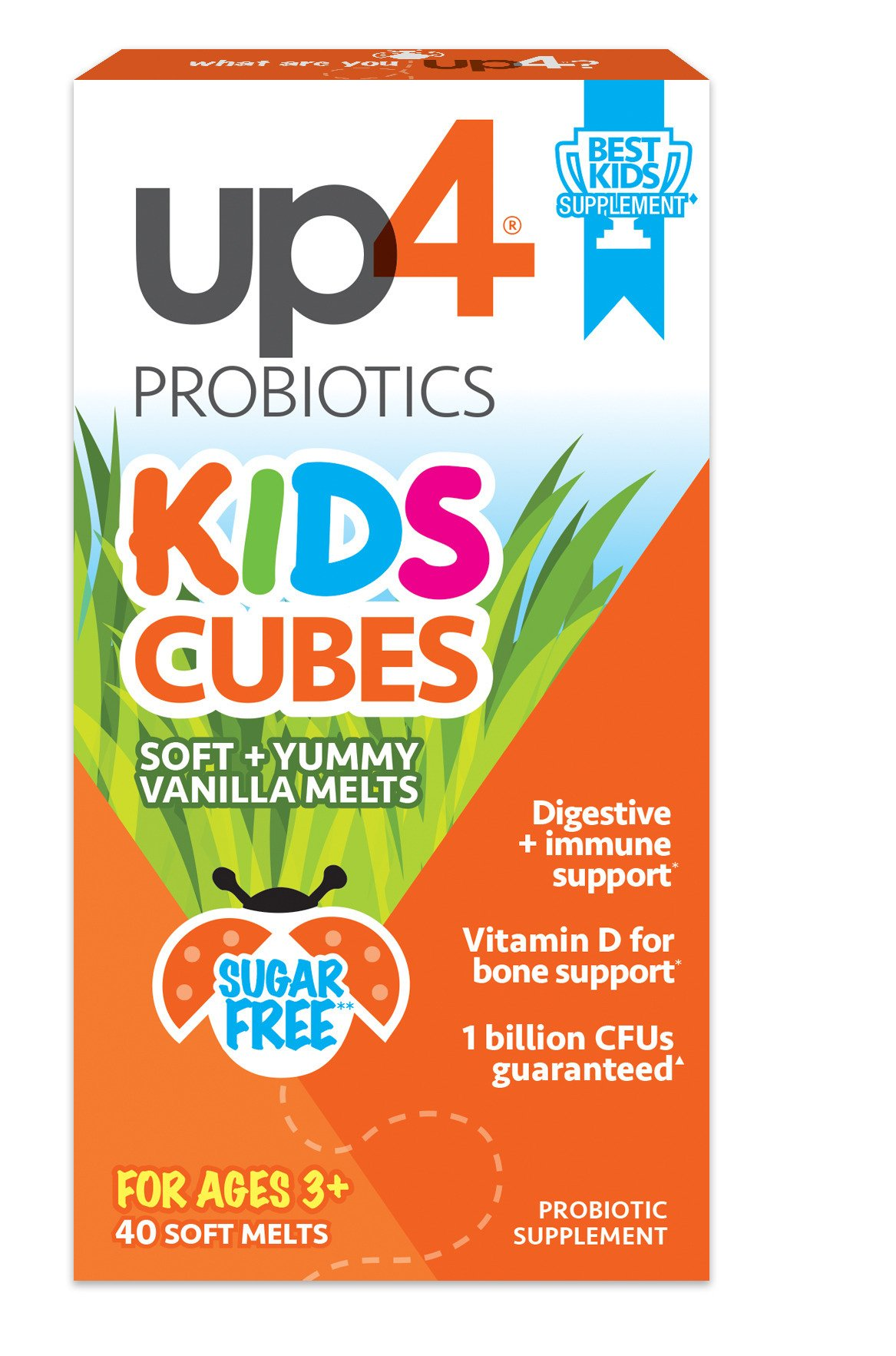 UP4 Kids Cubes Probiotic Supplement Digestive and Immune Support Vitamin D3 for Bone Support, 1 Billion CFUs, Soft & Creamy Vanilla, Gentle For Tiny Tummys, Sugar Free, 40 Count(Packaging May Vary)