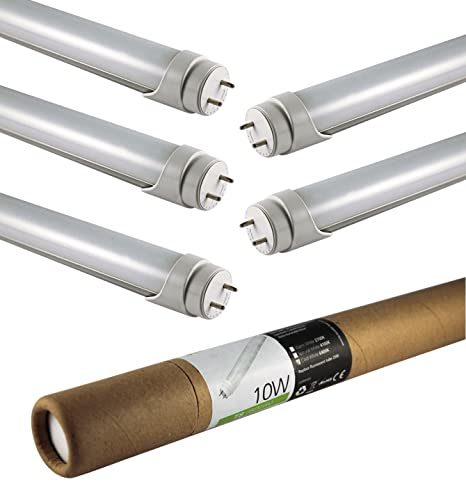 ECOLIT® Pack de 5 bombillas LED TUBO 10W G13 blanco frio 6000K (60cm)