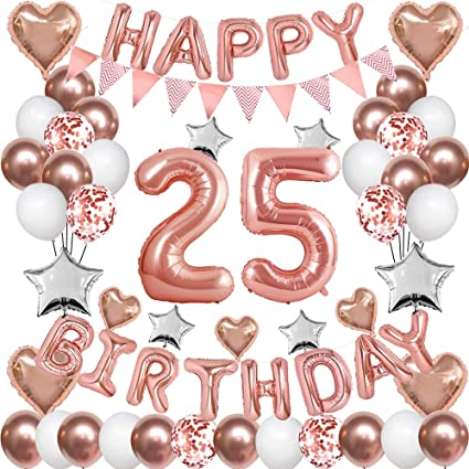 Amazon Com Rose Gold 25th Birthday Decorations For Women Girl 25th Birthday Balloons Supplies For Her 25 Rose Gold Number Balloon Happy Birthday Banner Confetti Balloons Star Heart Foil Balloons Toys Games
