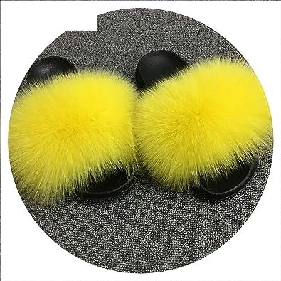 0556353a Summer Women Fox Fur Slippers Real Fox Hair Slides Female Furry Indoor  Slippers Casual Beach Sandals