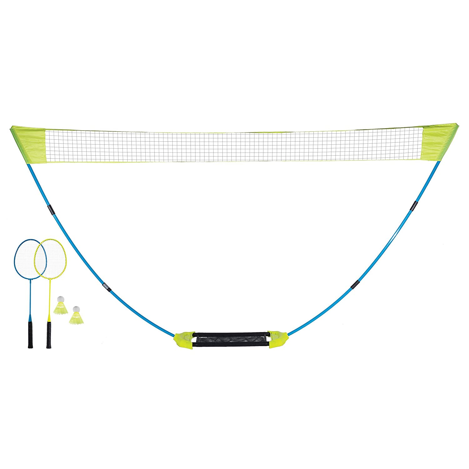 Includes 2 Rackets 2 Birdies and Pre-Strung Net and Poles Franklin Sports Badminton Net Set Badminton Net Sets Up In Seconds