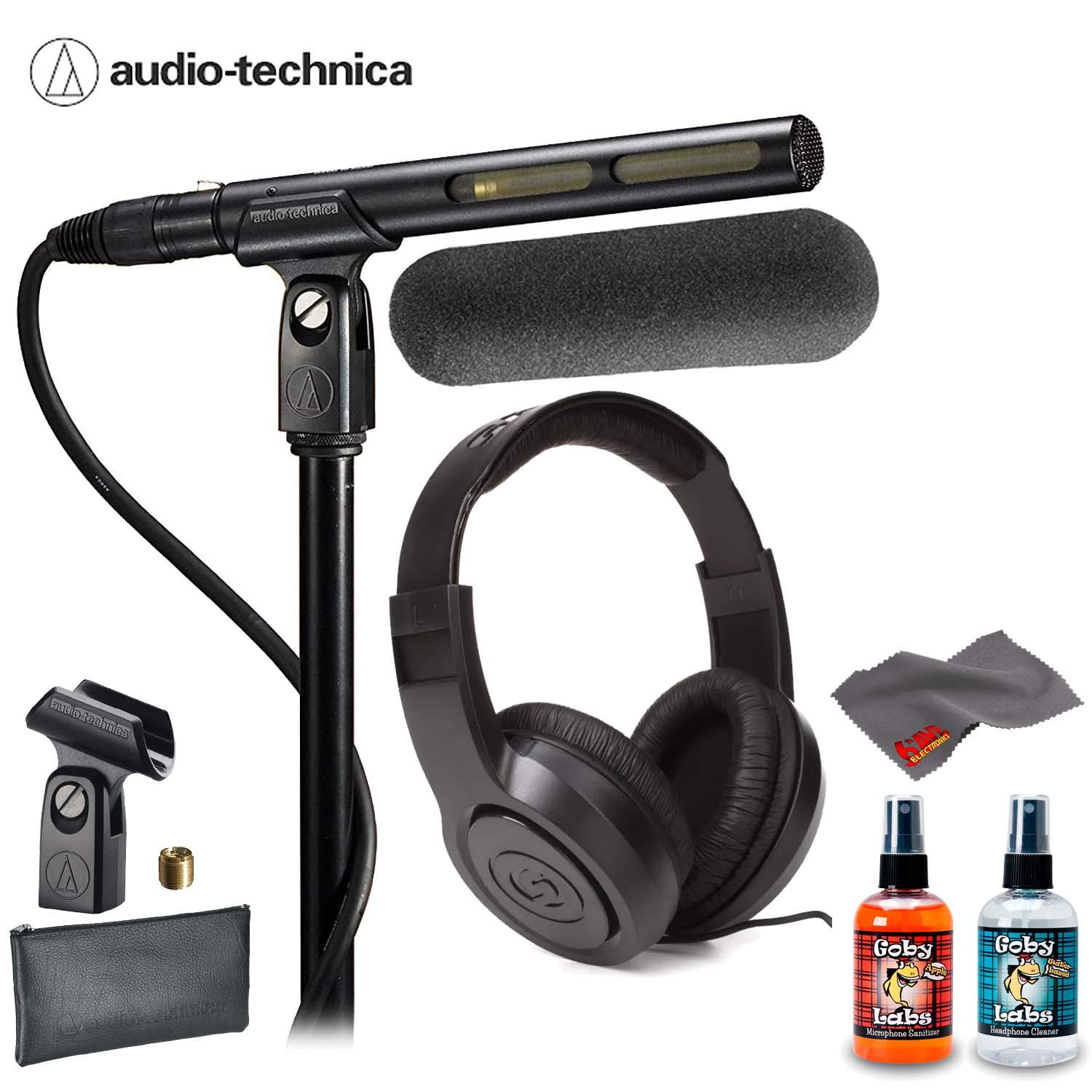 Audio-Technica AT875R Line and Gradient Condenser Microphone With Samson SR350, Windscreen, Protective Pouch AND 6Ave Cleaning Kit