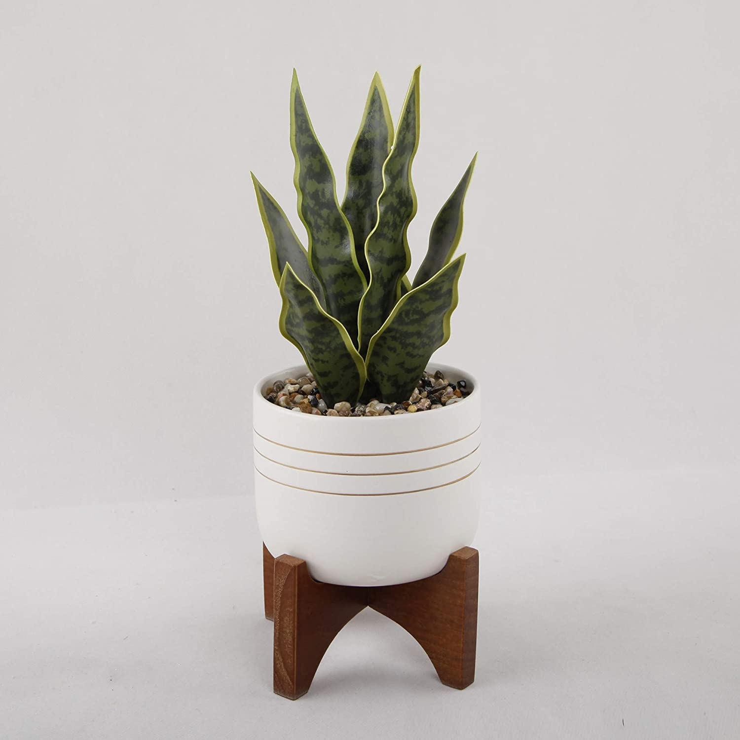 Artificial Snake Plant in Midcentury Modern Pot, Faux Succulent for Home Decor, Perfect Houseplant for Desktop, Artificial Succulent for Boho, Farmhouse, Hygge Decor