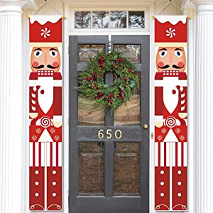 MATTTIME Nutcracker Soldier Banner Porch Sign Christmas Cane Candy Front Door Hanging Banner Sweetest Day Xmas Holiday Indoor Outdoor Decoration