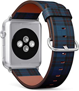 Compatible with Big Apple Watch 42mm & 44mm (All Series) Leather Watch Wrist Band Strap Bracelet with Stainless Steel Clasp and Adapters (Blue Black Tartan Plaid Scottish)