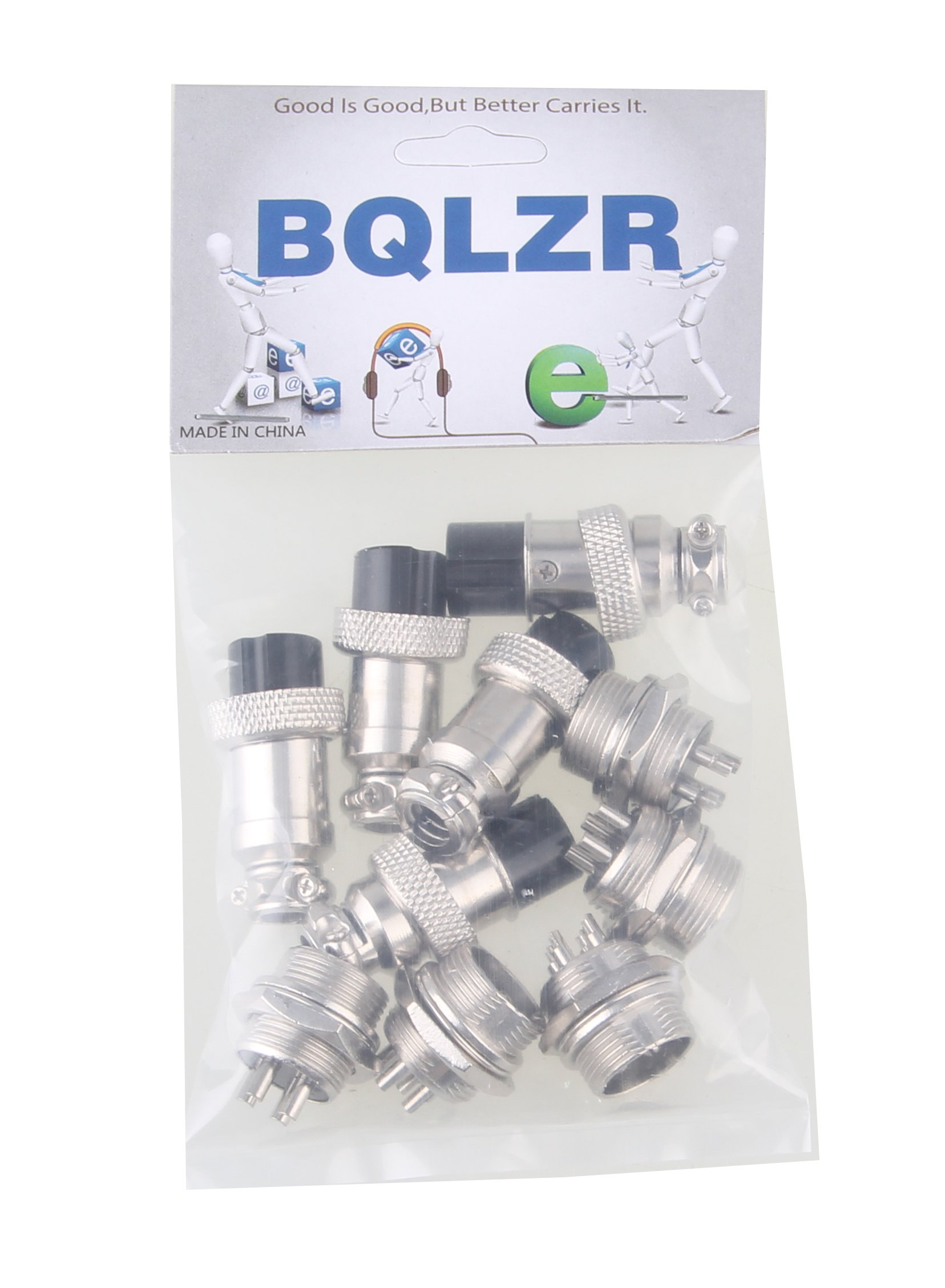 BQLZR Silver Aviation Plug 4-Pin 16mm GX16-4 Metal Male Female Panel Connector Pack Of 5