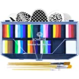 Bowitzki Professional Face Painting Kit for Kids Adults 12x10gm Face Paint Set with Stencil One Stroke Split Cakes Palette No