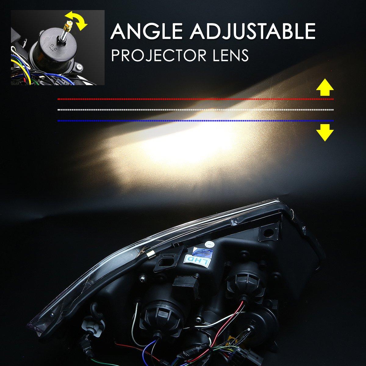 DNA motoring HL-3D-E9005-BK Headlight Assembly Driver and Passenger Side