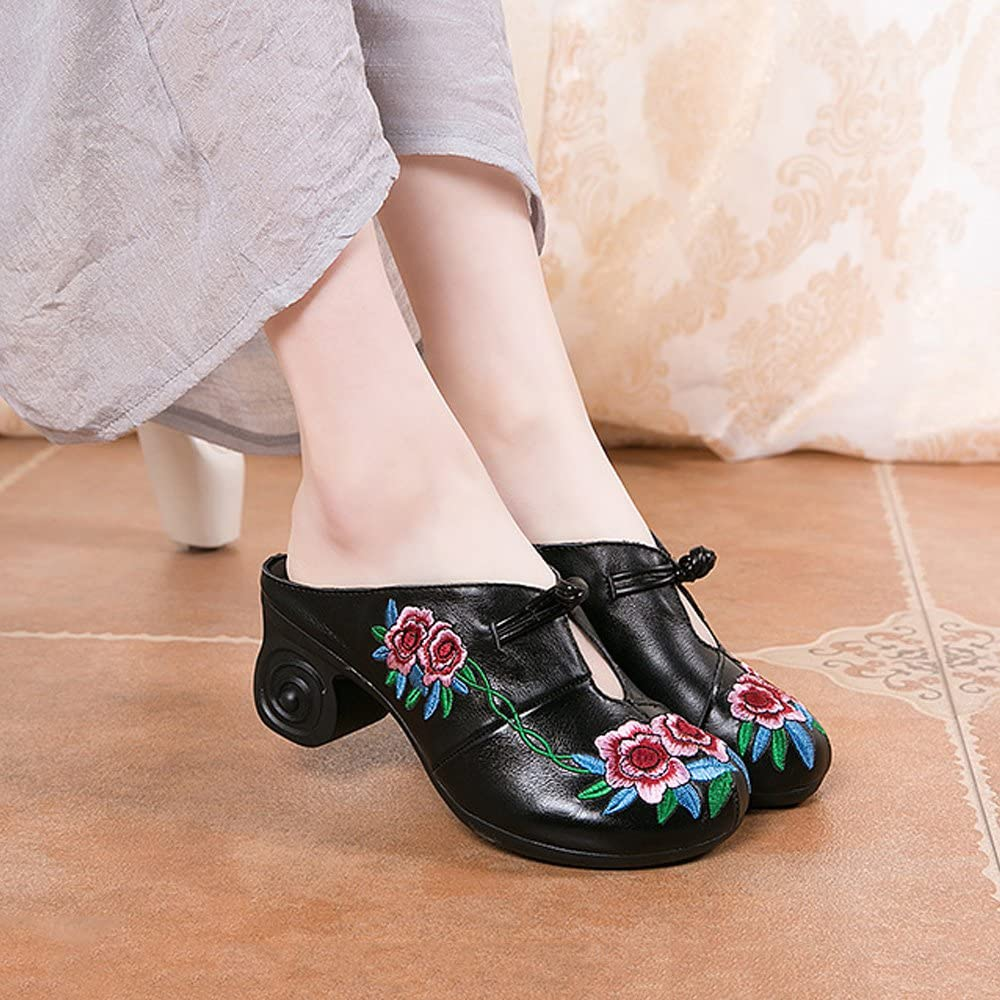 JINGFUTONG Retro Womens Embroidered Leather Block Heel Clogs Mule Sandals