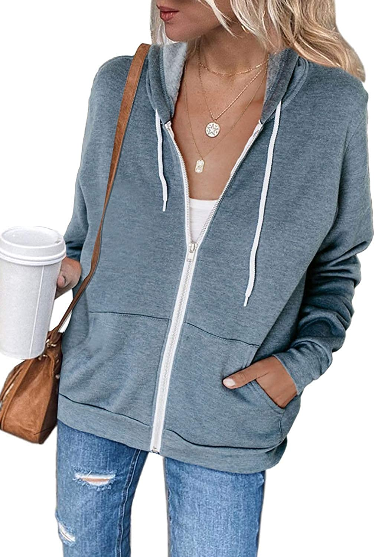Uusollecy Womens Casual Zip Up Hoodie Lightweight Sweatshirt Hoodies Drawstring Sweater with Pockets