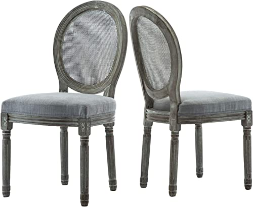 ZHENGHAO French Country Round Cane Back Dining Chairs Set of 2