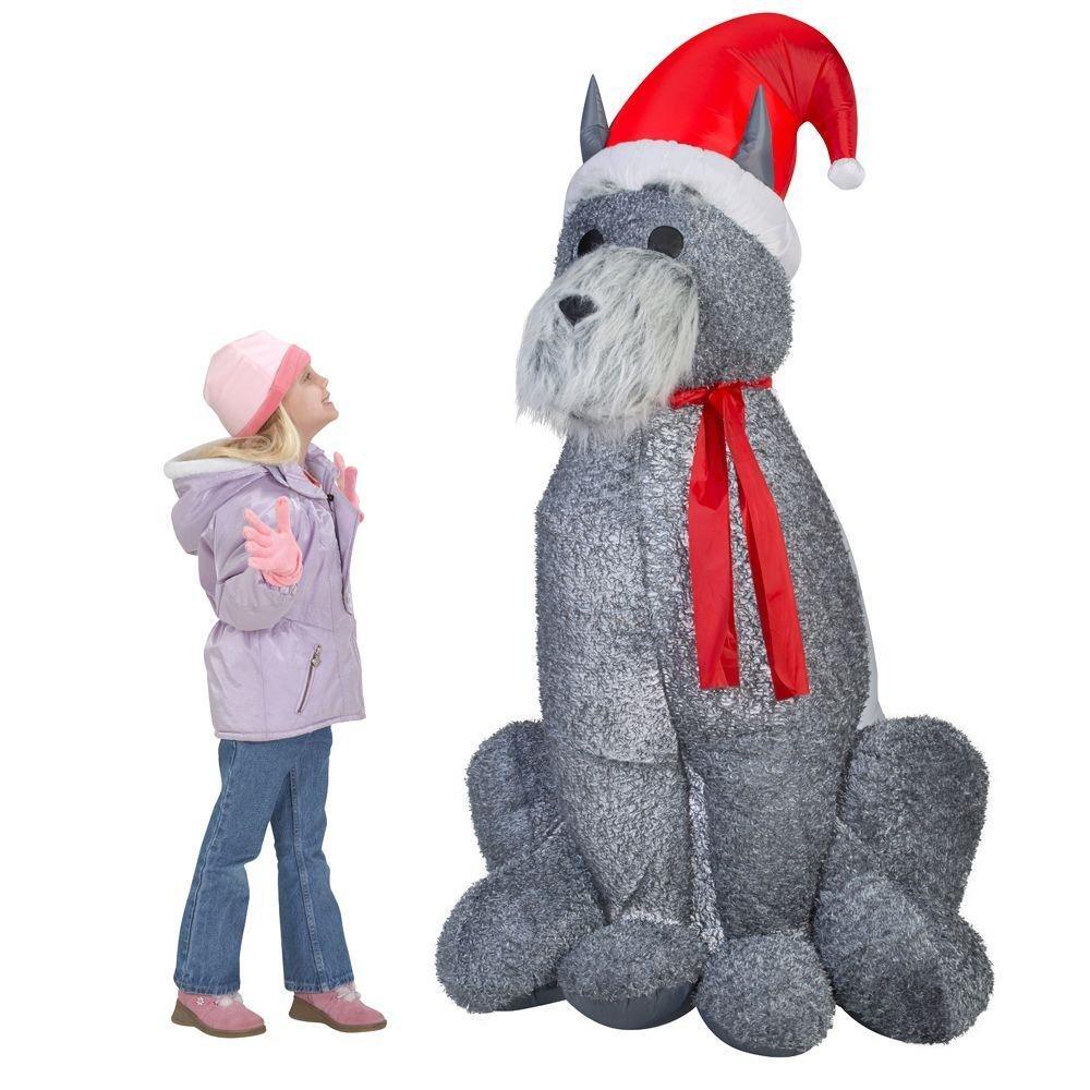 Amazon.com: Christmas Large 6\' Furry Gray Schnauzer Dog Airblown ...
